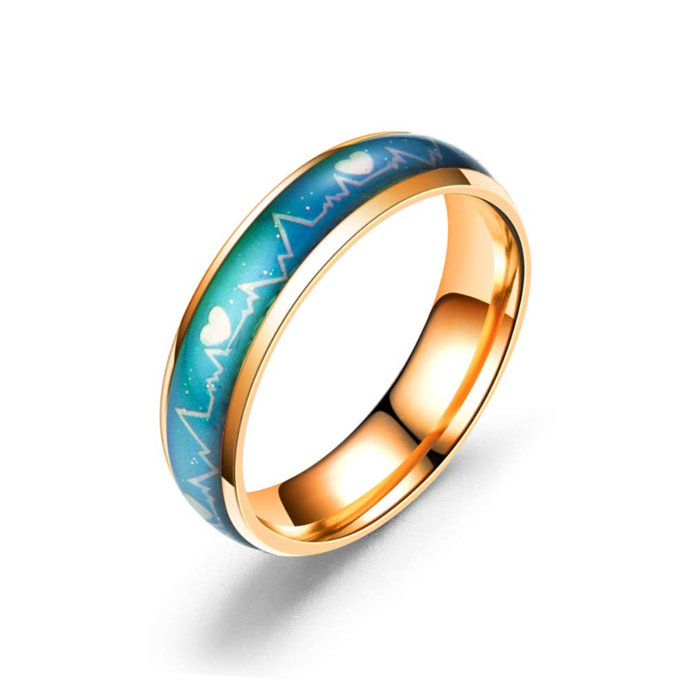 LamberthcV High Polished Stainless Steel Discolour Ring,Change Color As the Mood Changes ,Ring Fashion Couple Models Lover Gifts,Size6-12,Black/Silver/Gold/Rose gold