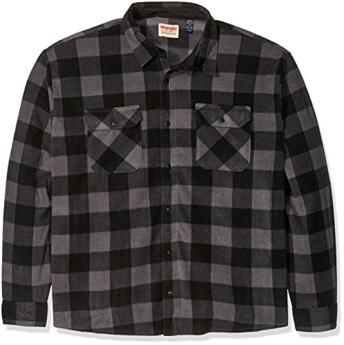 Wrangler Authentics Men's Big & Tall Long Sleeve Plaid Fleece Shirt Jacket, Gray Buffalo Plaid, ()