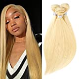 613 Blonde Human Hair 3 Bundles Long 16 18 20 inch Total 300 gram Brazilian Straight Blonde Hair Extensions 100% Remy Hair Weaves Weft
