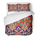 SanChic Duvet Cover Set the Beautiful of Malaysian and Indonesian Batik Pattern Industry Is Mass Production in Malaysia Indonesia Decorative Bedding Set with 2 Pillow Shams Full/Queen Size