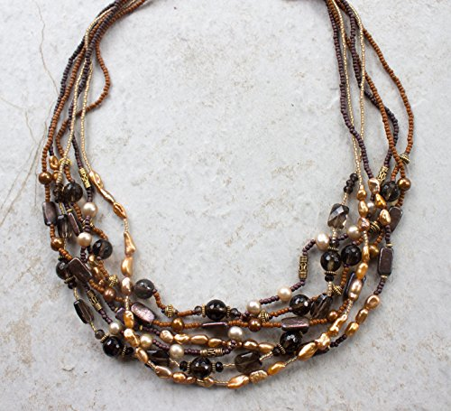 Freshwater Necklace Quartz Smoky - Smoky Quartz, Freshwater Pearl & Vermeil Gold Multi Strand Necklace