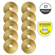 Titanium Coated Rotary Cutter Blades 45mm 10 Pack Replacement Blades Quilting Scrapbooking Sewing Arts Crafts,Sharp and Durable