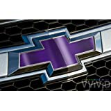 """VVIVID Purple Chrome Auto Emblem Vinyl Wrap Overlay Cut-Your-Own Decal for Chevy Bowtie Grill, Rear Logo DIY Easy to Install 11.80"""" x 4"""" Sheets (x2)"""