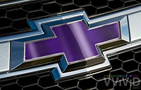 "VVIVID Purple Chrome Auto Emblem Vinyl Wrap Overlay Cut-Your-Own Decal for Chevy Bowtie Grill Rear Logo DIY Easy to Install 11.80/"" x 4/"" Sheets x2"
