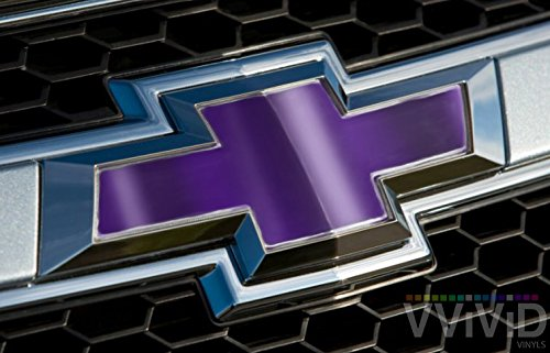 VVIVID Purple Chrome Auto Emblem Vinyl Wrap Overlay Cut-Your-Own Decal For Chevy Bowtie Grill, Rear Logo Diy Easy To Install 11.80 Inches x 4 Inches Sheets (x2)