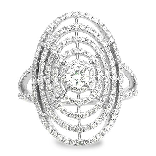 18K White Gold 3/4ct TDW Spider Web Diamond Ladies Fashion Band (G-H, SI1-Si2) (White Spider Diamond)