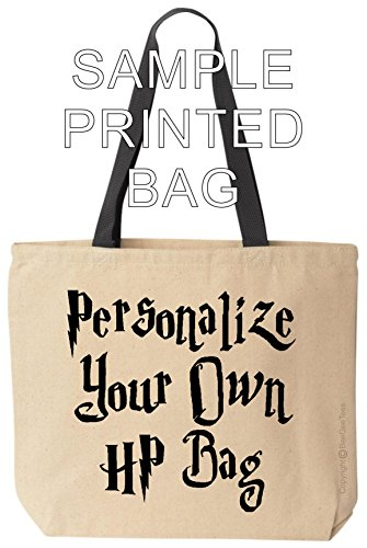 BeeGeeTees Personalized Bag Custom Canvas Tote with Parry Hotter Font (Black Handle)