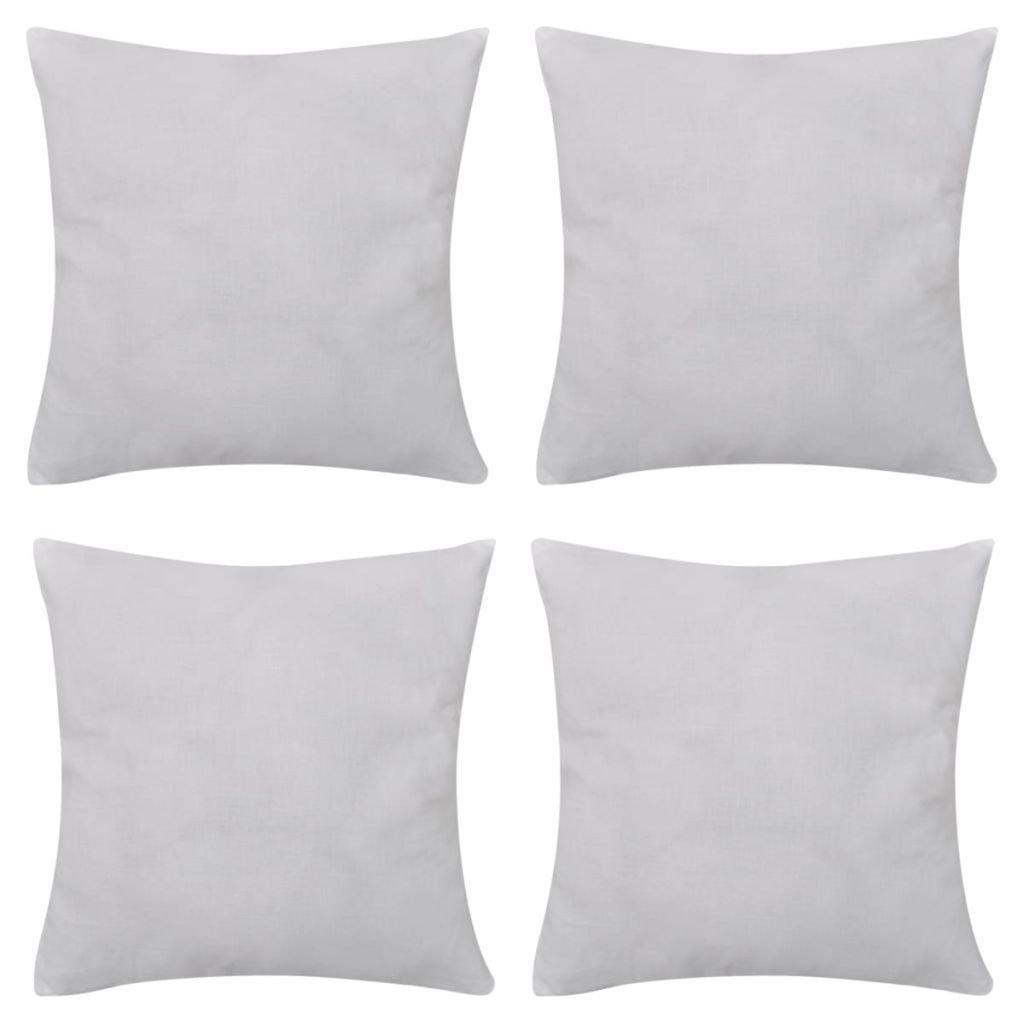 vidaXL 4 Fundas Blancas para Cojines de algodón Dimensiones 50 x 50 cm
