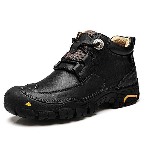 Hombres Estampación Tobillo Botas Otoño Invierno Ocio Hecho a mano Suave Cuero Zapatos Negro marrón Al aire libre Antideslizante Grande tamaño Black