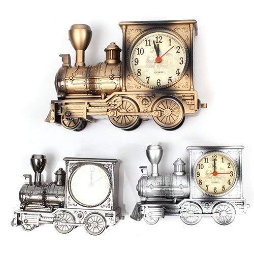 Vektenxi /Uhr Cartoon Lokomotive Zug Wecker antiken Motor Design Tisch Schreibtisch Dekor Bronze langlebig und n/ützlich