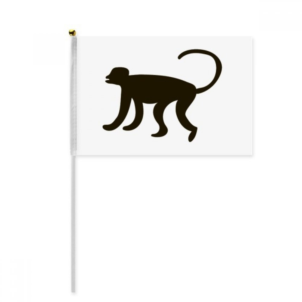 Black Monkey Animal Portrayal Hand Waving Flag 8x5 inch Polyester Sport Event Procession Parade 4pcs