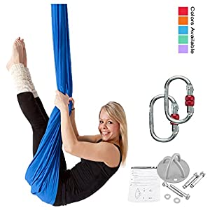 F.Life Premium Aerial Yoga Hammock 5.5 Yards with yoga accessories and guide for aerial dance fly at home