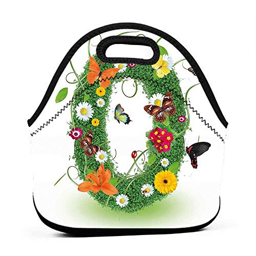 Rugged Lunchbox Letter O,Spring Season Alphabet with Grass Daisy Butterflies Ladybugs Greenland Florets,Multicolor,raiders lunch bag for men