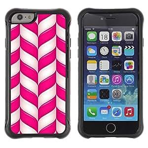 "Hypernova Defender Series TPU protection Cas Case Coque pour Apple Iphone 6 [Caña Pink White Lines Rayas de Navidad""]"