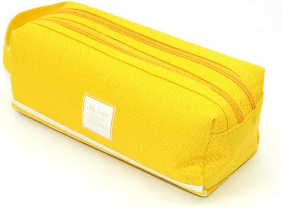Estuche escolar para lápices con diseño de trousse escolar y estilo, doble cremallera, caja sólida de gran capacidad Astucci Pennen Etui, color amarillo: Amazon.es: Oficina y papelería