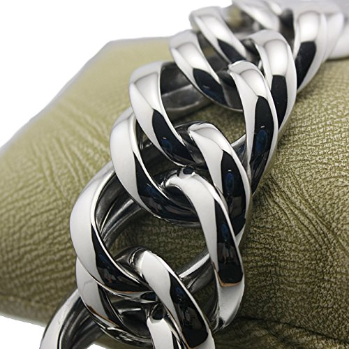 LINSION HipHop Various Length Huge Heavy 316L Stainless Steel Mens Biker Rocker Punk Bracelet 5E017 (11 Inches) by Unknown