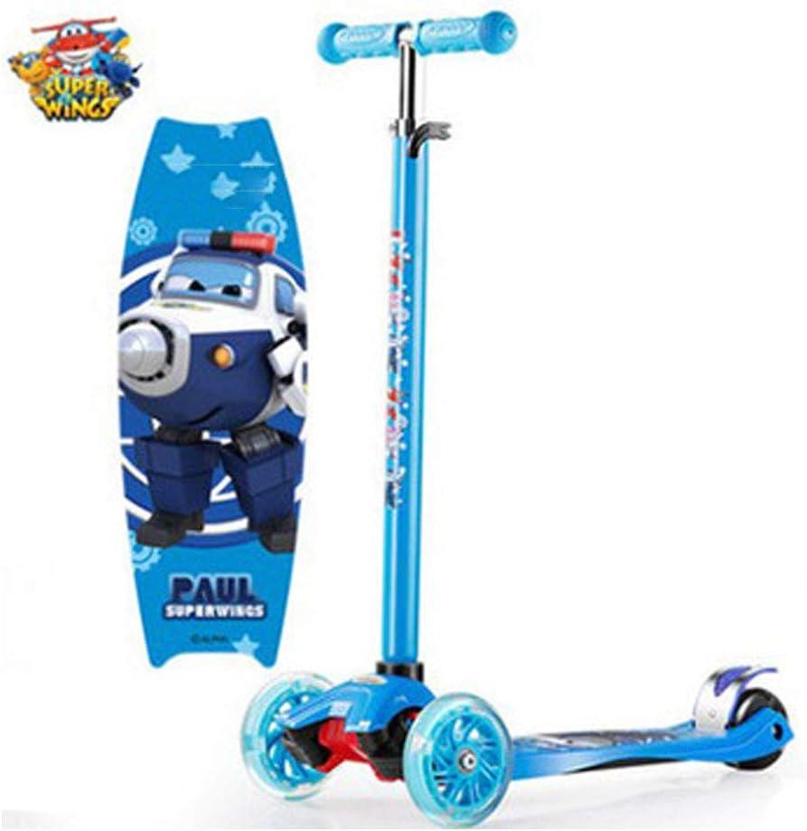ADFDFG Súper Pango para niños Scooter de Cuatro Ruedas Flash 3-6-12 años Pedal Triciclo elevable,-Blue