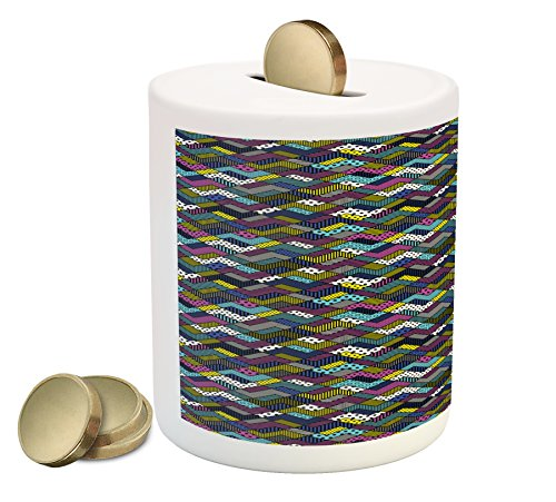 Lunarable Abstract Triangle Coin Box Bank, Vibrant Trippy Patchwork Style Digital Chevron Zig Zag Fashion Pattern, Printed Ceramic Coin Bank Money Box for Cash Saving, Multicolor