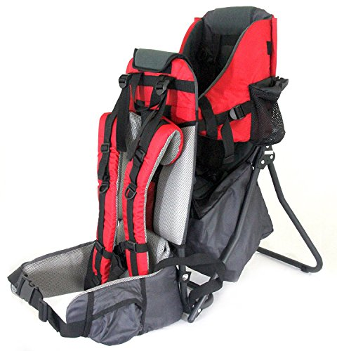Clevr Cross Country Baby Backpack Hiking Carrier with Stand and Sun Shade Visor Child Kid toddler, Red | Lightweight – 5lbs
