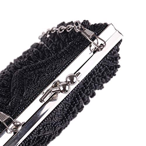 Soirée Cocktail Femme Et De À Black À YANXH Main Mariage Brodée Sac Perles Pochette La pour pour EnU1qZ6q