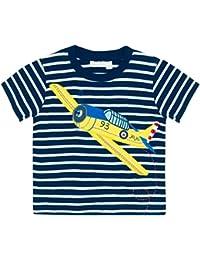 JoJo Maman Bebe Aeroplane Tee (Toddler/Kid) - Navy/White Stripe-4-5