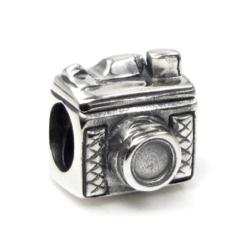 Sterling Silver Camera Charm - 925 Sterling Silver Photographer Camera Bead for European Charm Bracelets