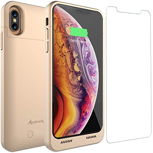 iPhone Xs Max Battery Case with Qi Wireless Charging Compatible, Alpatronix BXX Max 6.5-inch 5000mAh Portable Protective Rechargeable Extended Charger for iPhone Xs Max Juice Bank Power Case - Gold
