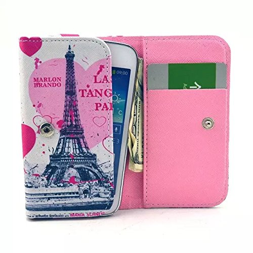 R1 HD Case,Last Tango in Paris Eiffel Tower Pattern Universal Smartphone Flip Wallet Clutch Bag Carrying PU Leather Protective Cover for BLU R1 HD 5 Inch