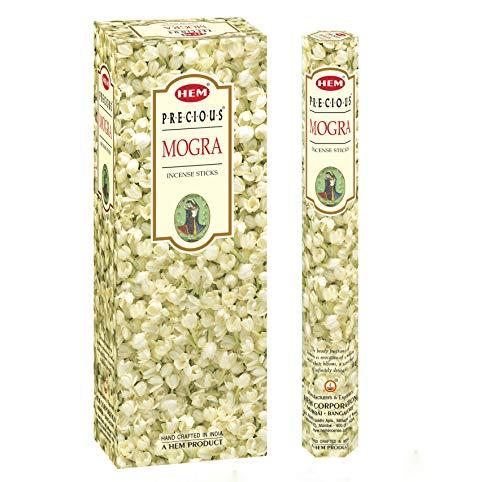 Precious Mogra Incense (Precious Mogra - Box of Six 20 Stick Tubes, 120 Sticks Total - HEM Incense)