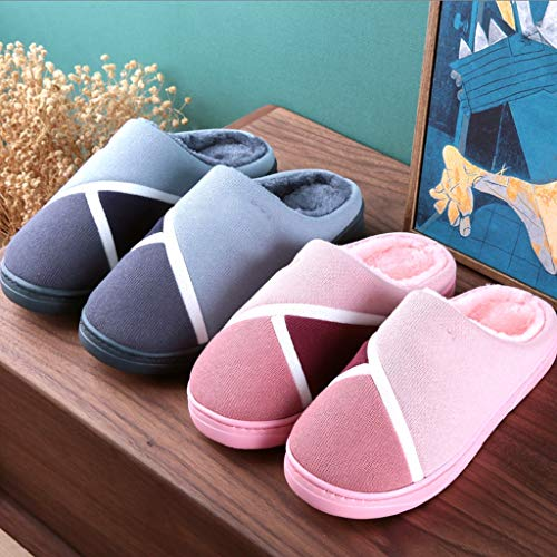 Couple Male slip Bottom Aminshap Slippers Thick Cotton Soft Non Winter Indoor Home Gray Fur B6YzqFw