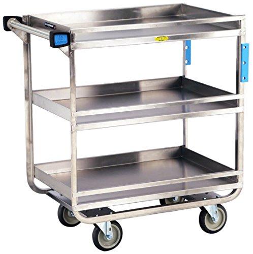 Lakeside 726 Stainless Steel Guard Rail Utility Cart; 700 Lb Capacity, 3 Shelf, 18