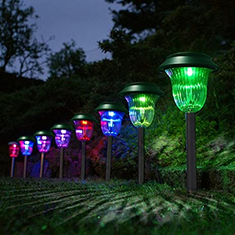 YK LED Solar Path Light Color Changing Solar Plastic Lawn Light Pathway Garden  Lamp Pack Of