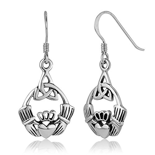 925 Sterling Silver Open Claddagh Friendship and Love Triangle Celtic Knot Dangle Hook Earrings 1.3