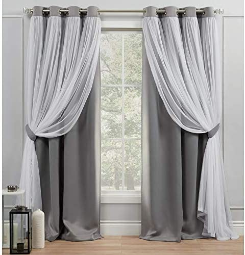 Exclusive Home Curtains Catarina Layered Solid Blackout and Sheer Grommet Top Curtain Panel Pair