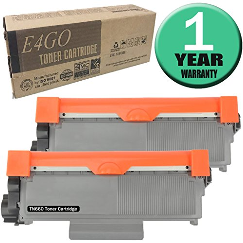 E4go TN660 Toner Cartridge High Yield 2 Pack Compatible for Brother HL-L2300D, HL-L2305W, HL-L2320D, HL-L2340DW, HL-L2360DW, HL-L2380DW, DCP-L2520DW, DCP-L2540DW, MFC-L2700DW, MFC-L2720DW, MFC-L2740D