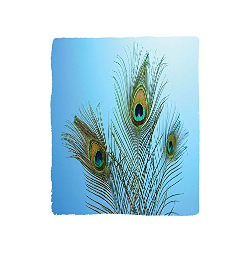 VROSELV Custom Blanket Peacock Collection Fluffy Peacock Feathers in Vivid Colors Similar to Mythical Phoenix Immortality Theme Bedroom Living Room Dorm Blue Green