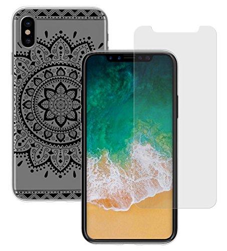 Yayago Coque de protection ultra-fine (0,8mm) pour Apple iPhone X silicone transparent avec motif Tribal + Yayago Protection d'écran en verre trempé 0.26mm ultra résistant 9H pour Apple iPhone X