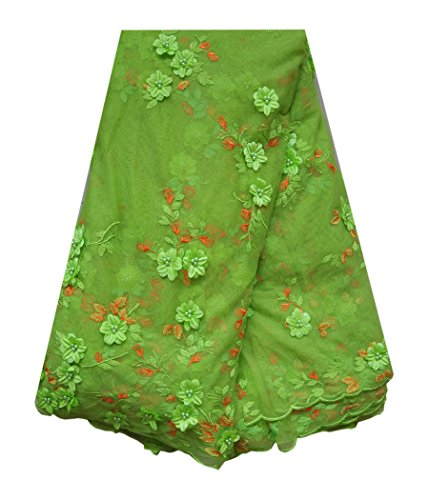 SanVera17 African Lace Net Fabrics Nigerian French Fabric Embroidered and Beading Guipure Cord Lace for Party Wedding 5 Yards us-fabric-016 (green) by SanVera17