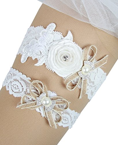 Country Wedding Garters: MerryJuly Rustic Country Burlap Lace Wedding Bridal Garter