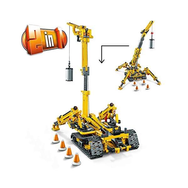 LEGO - Technic Gru Cingolata Compatta, Ricostruibile a Torre Compatta, Set di Costruzioni 2 in 1, 42097 5 spesavip