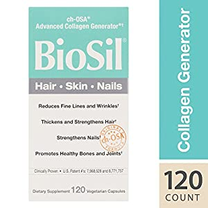 BioSil - Hair, Skin, Nails, Supports Keratin and Collagen Production, Natural Nourishment For Your Body's Beauty Proteins, 120 Vegetarian Capsules
