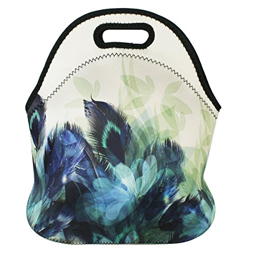 [UPGRADED] Extra Insulated Large Neoprene Lunch Bag Totes Violet Mist Travelling Picnic Handbags Food Container for Women Men Adults Kids Girls (Flower 1)