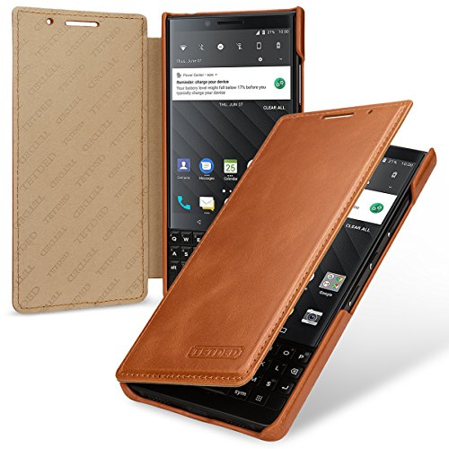 TETDED Premium Leather Case for BlackBerry KEY2 BBF100-1 BBF100-2 BBF100-4 BBF100-6 Dual SIM, Book Type DJ2 (Vintage Brown) Blackberry Leather Folio Case