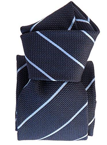 - Elizabetta Men's Italian Silk Grenadine Tie Necktie, Handmade, Blue Stripe