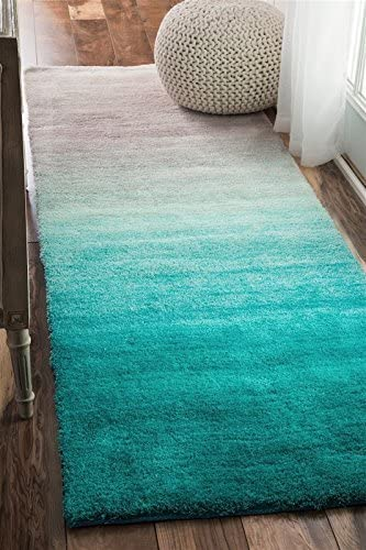 nuLOOM Shag Runner Area Rug 2 6 x8 Turquoise Ombre Collection
