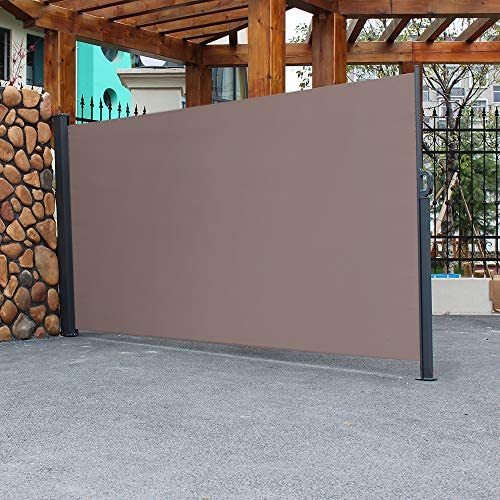 SSLine Patio Retractable Side Awning Outdoor Folding Privacy Divider Screen Weatherproof Sun Shade Wind Screen with Aluminum Frame for Patio Garden Deck Balcony – 118.5 Lx63 W Brown