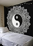 Black-And-White Yin-Yang-Wall-Hanging Indian-Traditional-Cotton-Printed-Mandala Bohemian-Hippie-Large-Wall-Art Queen-Size-Tapestry
