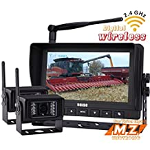 "No Interference, Rear View Backup Camera System, 7"" Digital Wireless Split LCD Monitor with Two Wireless Waterproof Ir Color Cameras for Excavator, Cement Truck, Farm Tractor, Trailer, 5th Wheel, Rv Camper, Heavy Truck"