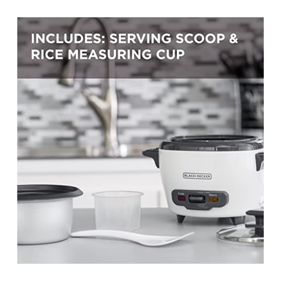 """BLACK+DECKER RC503 Dry/3-Cup Cooked Rice Cooker 2 Sauté Function - This is no ordinary rice cooker! The sauté function puts a delicious sear on meat and other proteins, or softens veggies to complete easy one-pot meals 14-Cup Capacity - Prepare anywhere from 3 to 14 cups of cooked rice, great for one large meal or to save as leftovers Automatic Keep Warm - The rice stays ready for serving! The unit automatically switches to the """"keep warm"""" function after cooking is complete"""