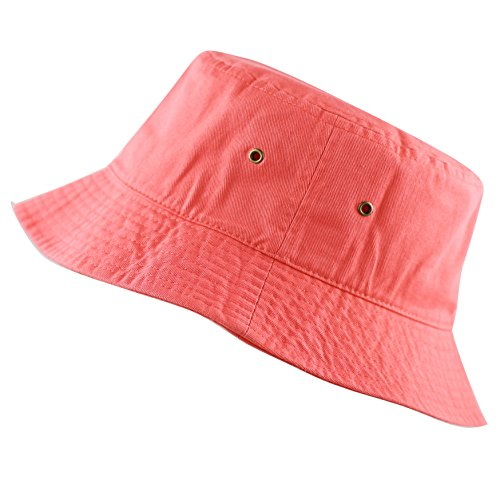 The Hat Depot 300N Unisex 100% Cotton Packable Summer Travel Bucket Hat (L/XL, Coral)